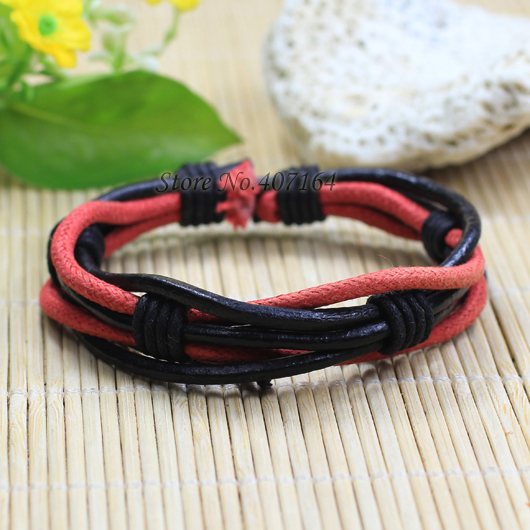 SF8-vintage style wristband handmade woven ethnic genuine braided bangle leather bracelet for women wrap red charm unisex