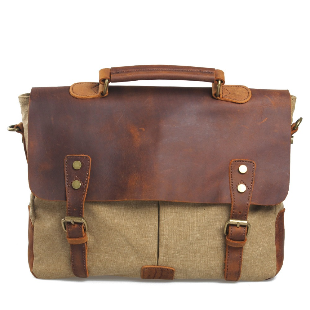 Vintage Crossbody Bag Military Canvas + Leather shoulder bags Men messenger bag men leather Handbag tote Briefcase Leisure bag