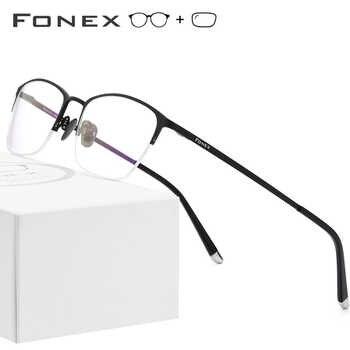 Pure Titanium Prescription Glasses Frame Men Vintage Round Eyewear Women Semi Rimless Half Optical Eyeglasses Frames Gafas 8502 - DISCOUNT ITEM  49% OFF All Category