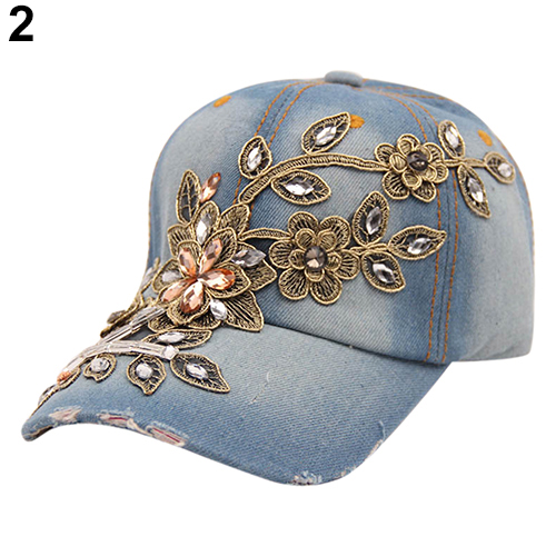 Composite Bats Women's Embossing Flower Denim Baseball Cap Summer Rhinestone Inlaid Jeans Hat