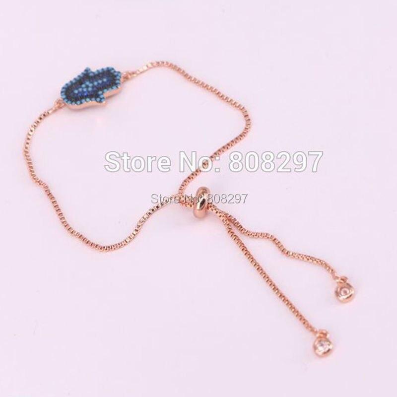 10Pcs Copper Inlay Micro Pave CZ Blue Stone charm Hamsa Hand charm adjustable chain Macrame bracelet