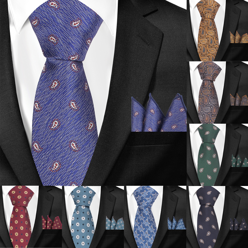 Skinny Paisley Neckties And Pocket Square Sets For Men Jacquard Woven Classic Suits Ties Hanky Set Men Tie Slim Groom Neck Tie