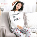2 Pcs Conjuntos de Pijama de Algodão das Mulheres Outono de Manga Comprida Feminina Pijamas Sleepwear Casuais Letras Cogumelo Pijama Casa Terno Para senhoras