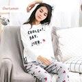 2 Unids Pijamas Conjuntos de Pijamas de Algodón de Las Mujeres de Otoño de Manga Larga Femenina ropa de Noche Ocasional Letras de Setas Pijama Traje a Casa Para señoras