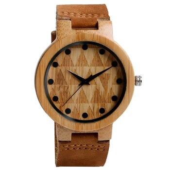 Reloj madera bambú, correa cuero 1