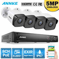 ANNKE 8CH HD 5MP POE Network Video Security System 8MP H.265 NVR With 4PCS 5MP 30m EXIR Night Vision Weatherproof WIFI IP Camera