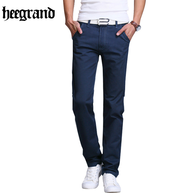 Hee grand 2017 estilo europa sólidos moda homem calça casual mais tamanho de Alta Qualidade Meados de Cintura Reta Calças Masculinas 10 Cores MKX1095