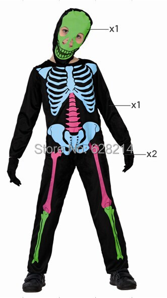 Free shipping- 2016 New Fashion Style Party Clothing Halloween Cosplay Costume for child boys Knitted skeleton Costume Black