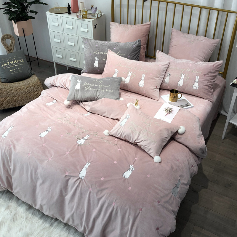 New coral fleece embroidered bedding set RUIYEE brand rabbit embroidery 4 5 6 7pcs bed set