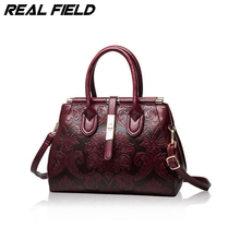 New Style Chinese Style Genuine Leather Women Handbags Famous Shoulder Bag Ladies Frame Tote Bag Handbags Sac A Main Femme 050