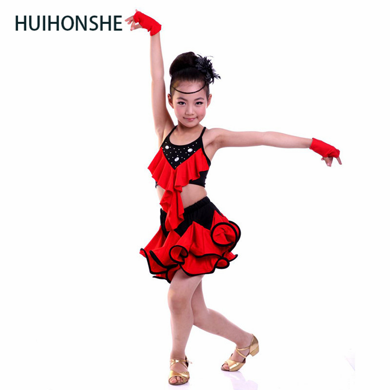 HUIHONSHE Latin Dance Dress For Girls Rose Salsa Dresses Yellow Sequin Tango Ballroom Dance Dresses Kids Red Girls Dancewear