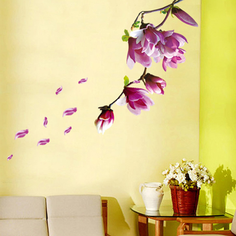 Flowers Wall Mural Magnolia Sticker Flower Wall Stickers Home Decor ...
