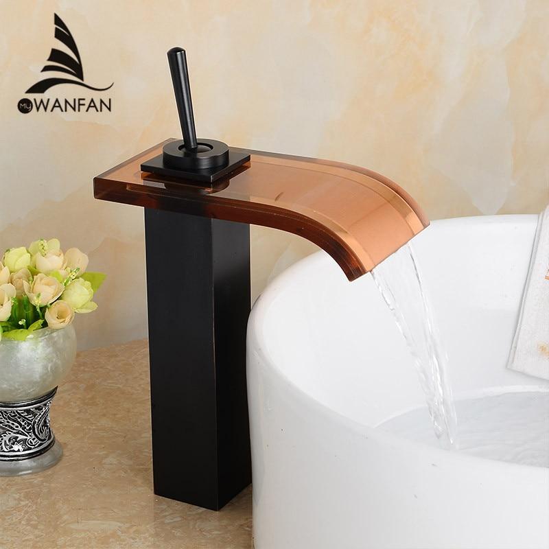 vidrio cascada cao lavabo del bao de lujo grifo del fregadero cubierta monte encimera mezclador grifos aceitado bronce lh