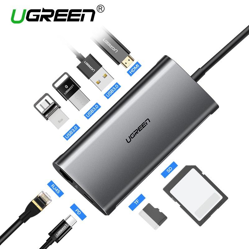 Ugreen USB HUB USB C a HDMI RJ45 PD Thunderbolt 3 Adattatore per MacBook Samsung Galaxy S9/S8 Huawei p20 Pro di Tipo-C USB 3.0 HUB
