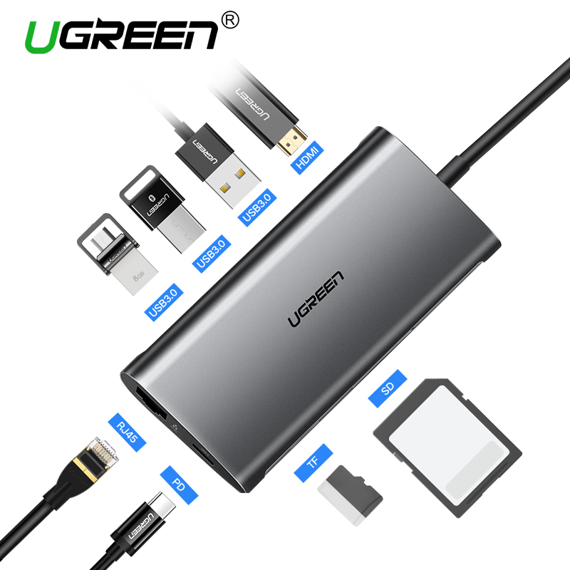Ugreen USB HUB USB C to HDMI RJ45 Thunderbolt 3 Adapter for MacBook Samsung Galaxy S9/Note 9 Huawei P20 Pro Type C USB 3.0 HUB mo миши momax type c конвертер hdmi usb c поддержка расширения адаптер apple macbook huawei подключенный телевизор проектор серебряный mate10