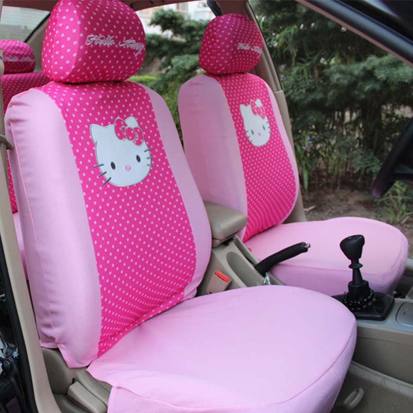 Universal red dots pink cat Seat Covers Car Interior car Accessories car Styling 6pcs only for
