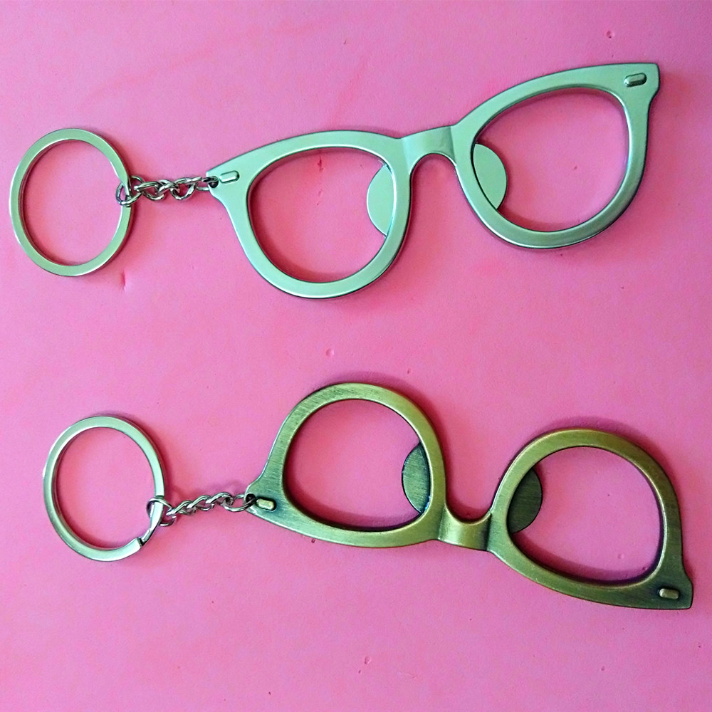 1 pcs Glasses Portable Bottle Opener Keychain Beer Bottle Can Opener Ring Keychain Tool Kitchen Bar Tools Keychains glasses