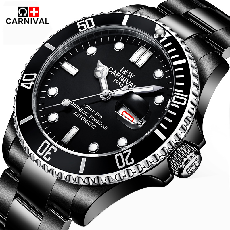 Carnival Men's Automatic Mechanical Watch Stainless Steel Strap Business Luxury Watch Luminous Watch Men's 2017 Fashion Brand