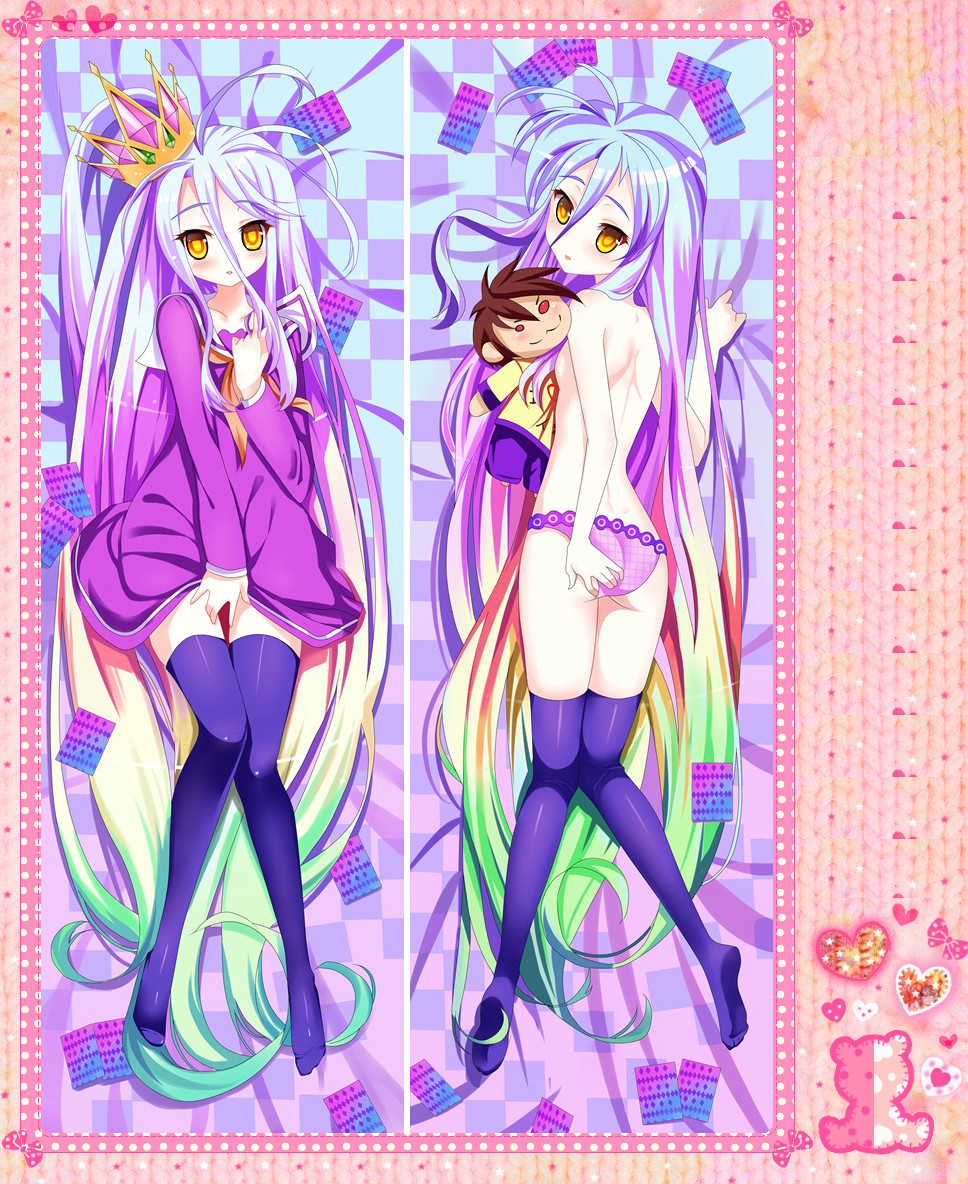 Anime Cartoon No Game No Life Double-Sided Bolster Hugging Pillow Case Pillow Cover Pillowcase Peach Skin 2 Way No.63024