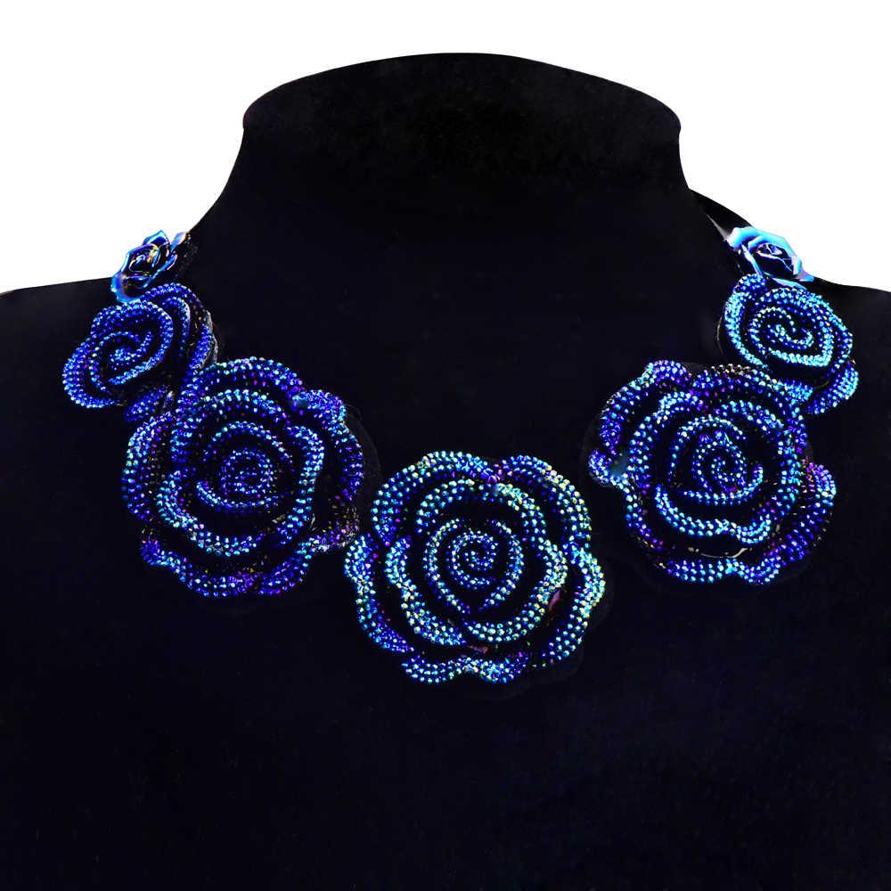 Горячая Распродажа, женское красивое короткое ожерелье, Большая голубая роза, кулон, ложный воротник, изысканный женский аксессуар для банкета, ювелирное изделие