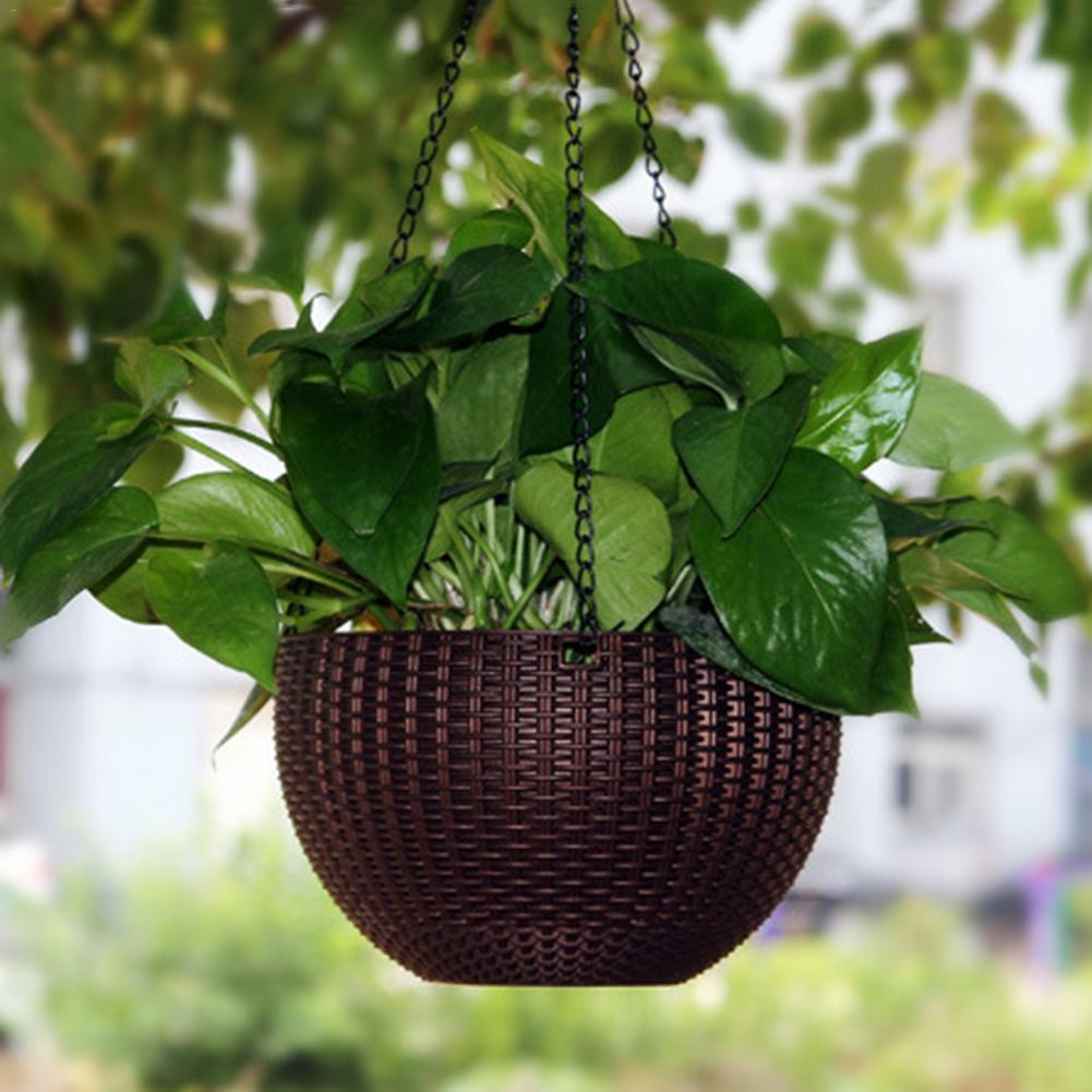 Us 8 12 36 Off Modern Rattan Woven Hanging Baskets Home Resin Plant Flower Pots With Chain Garden Balcony Decoration In