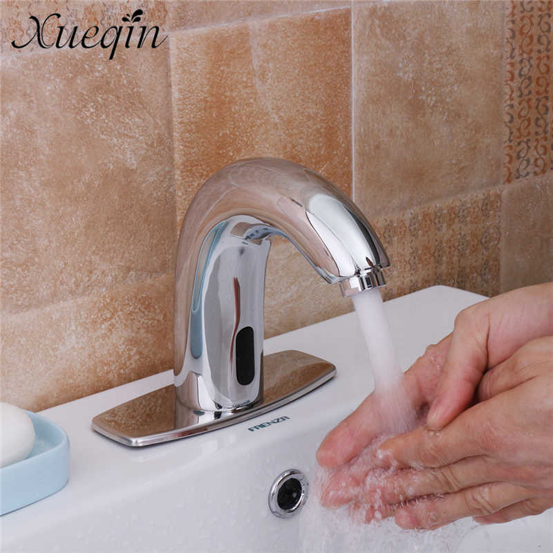 Xueqin Automatic infrared Sensor Faucet Single Cold Bathroom Sink Deck Mounted Water Tap Touchless Basin Faucets With 2 Hoses copper infrared intelligent automatic induction type single tap faucet wash