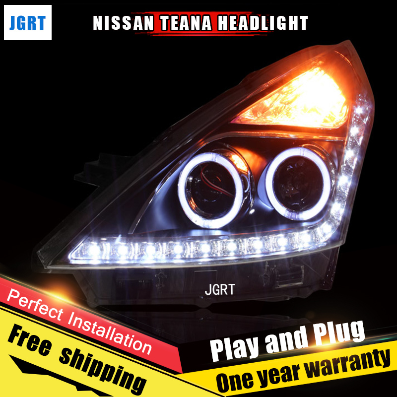 Car Style LED headlights for Nissan Altima 2008-2012 for Altima head lamp LED DRL Lens Double Beam H7 HID Xenon bi xenon lens for volkswagen polo mk5 vento cross polo led head lamp headlights 2010 2014 year r8 style sn