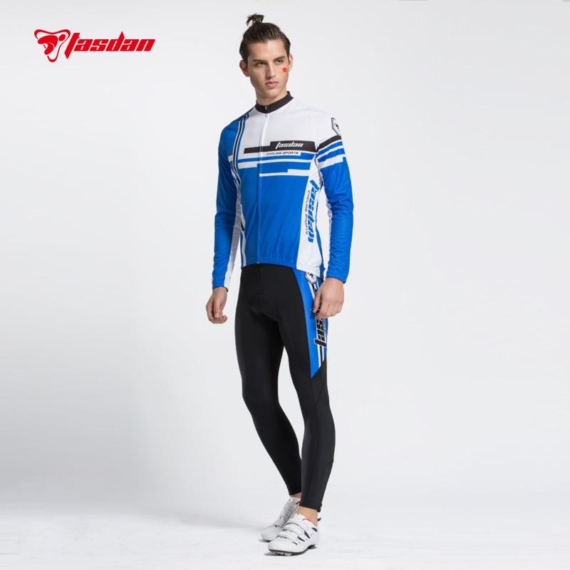 Tasdan Mountain Bike Men's Cycling Jerseys Set Warmers Long Sleeve Shirts with Padded Pants Bike Racing Clothing