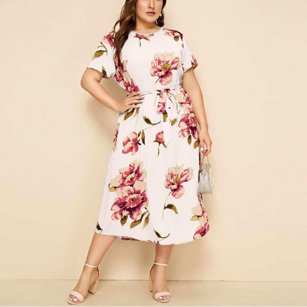 Womail L-5XL delle Donne Casual Dress Plus Size Abiti O-Collo Del Manicotto Del Bicchierino di Stampa Del Fiore Vestito Dalla Cinghia di Vita Per Le Signore JL19 abiti