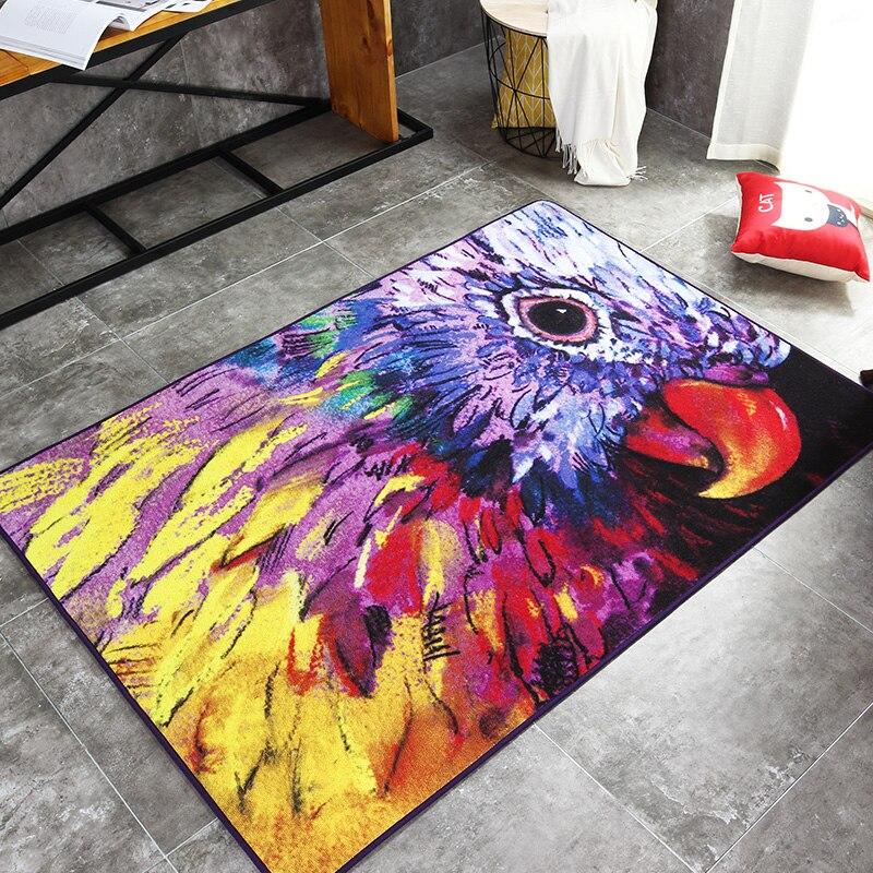 Abstrait peinture à l'huile aquarelle tapis pour salon dessin animé perroquet tapis antidérapant pour enfants jouer maison décorateur tapis de sol