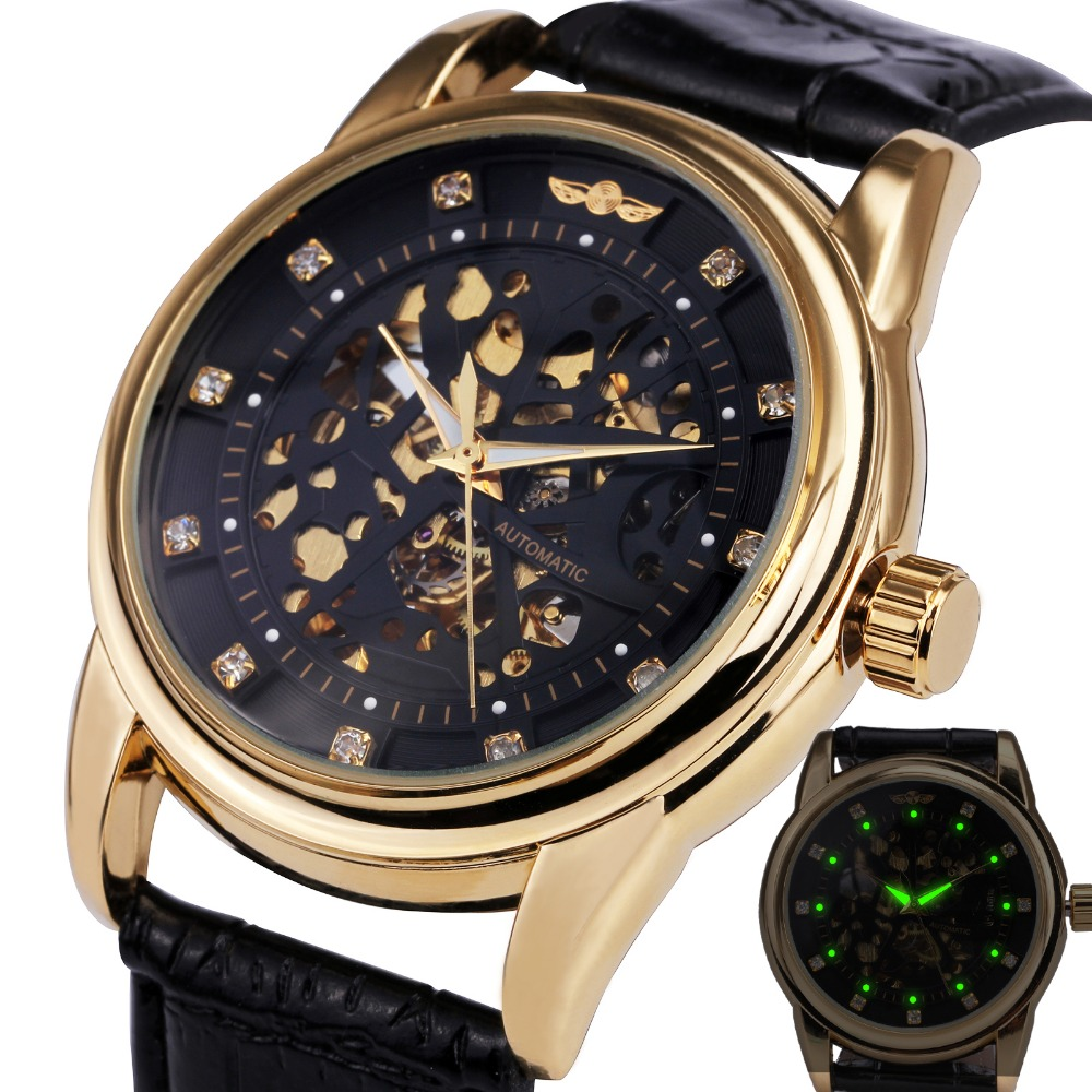 font b WINNER b font Royal Diamond Design Black Gold Watch Montre Homme Mens Watches