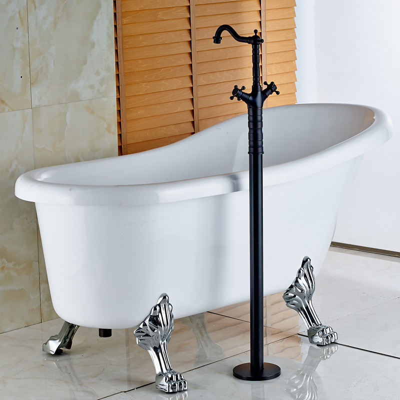 Oil Rubbed Bronze Newly Two Handle Floor Stand Mounted Bathtub Tap ...