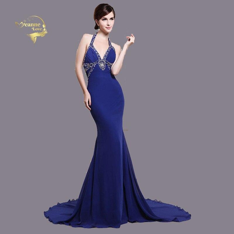 Холтер Королевский синий Элегантный Русалка Помолвочные вечерние платья со шлейфом открытая спина сексуальное Кристальное женское длинно...