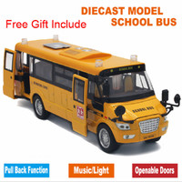 Music Sound And LED Light Metal Alloy School Bus Model Open Doors Pull Back Car Toys Kids Christmas With Free Gift Road Sign