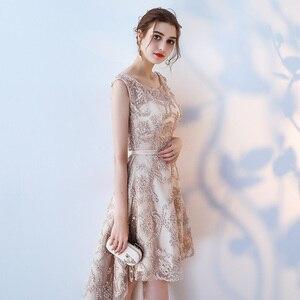 Image 3 - Robe de soiree O  Neck slim lace up Sleeveless evening dress  Short Front Long Back Party Dresses prom dresses Custom made