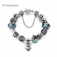 Encantos âncora Pulseira Feminina de Cristal Azul Acrílico Contas Pulseiras Bangles Mulheres Jóias Diy PA1908