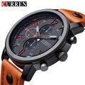Curren de la marca de diseño de cuero genuino reloj del deporte militar hombres moda fresca masculina regalo de pulsera de cuarzo de negocios reloj resistente al agua