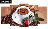 5D DIY Diamond Embroidery Coffee Cup Red Rose Diamond Painting Cross Stitch Full Drill Rhinestone Mosaic