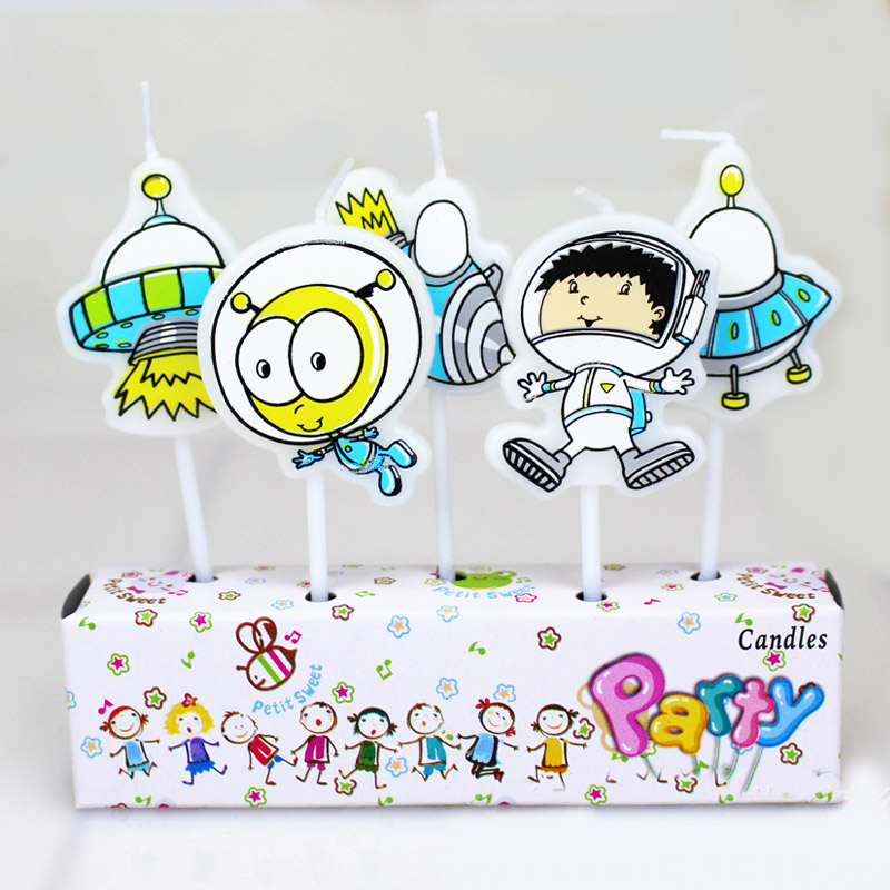 5pcs Underwear Swimwear Ufo Airship Printed Cartoon Girls Boys Theme Happy Birthday Candle Kids Party Cake Decoration Supplies Wedding & Anniversary Bands