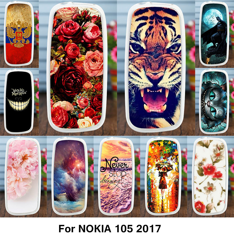 Galleria fotografica AKABEILA Ultra-Thin Painted Case For <font><b>Nokia</b></font> 105 2017 Case Silicone <font><b>Cover</b></font> For <font><b>Nokia</b></font> 105 2017 TA-1010 Dual-SIM Card Slots Protector