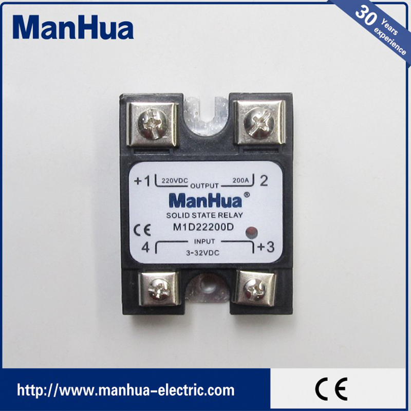 MANHUA Single Phase DC To DC 3-32VDC To 220VDC 200A Black Solid State Relay/SSR Relay With CE new and original sa366200d sa3 66200d gold 3 phase solid state relay 4 32vdc 90 660vac 200a