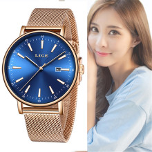 LIGE Summer dress Fashion Blue Quartz Watch Lady Full Steel Watch Band High Quality Casual Waterproof WristWatch Gift for Wife