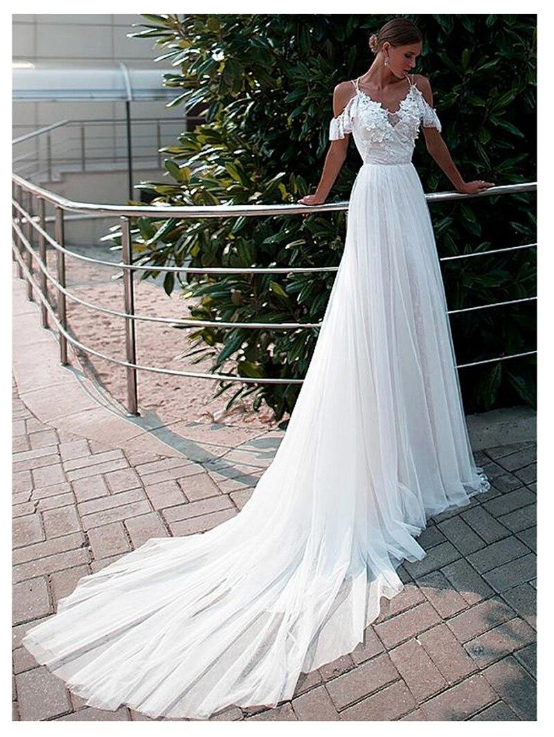 SoDigne Spaghetti Straps Wedding Dress 2019 3D Flowers Bride Dresses Vestido De Novia Sexy Backless Wedding Gowns