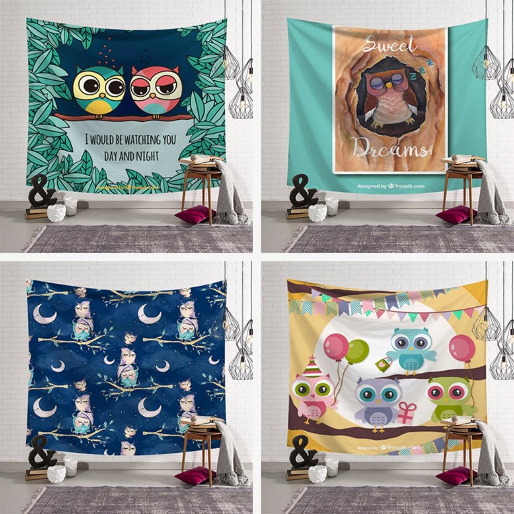 Cartoon Owl Tapestry Wall Hanging Bohemia Mandala Polyester Macrame Party Blanket Kid Room Art Decoration Yoga Mat