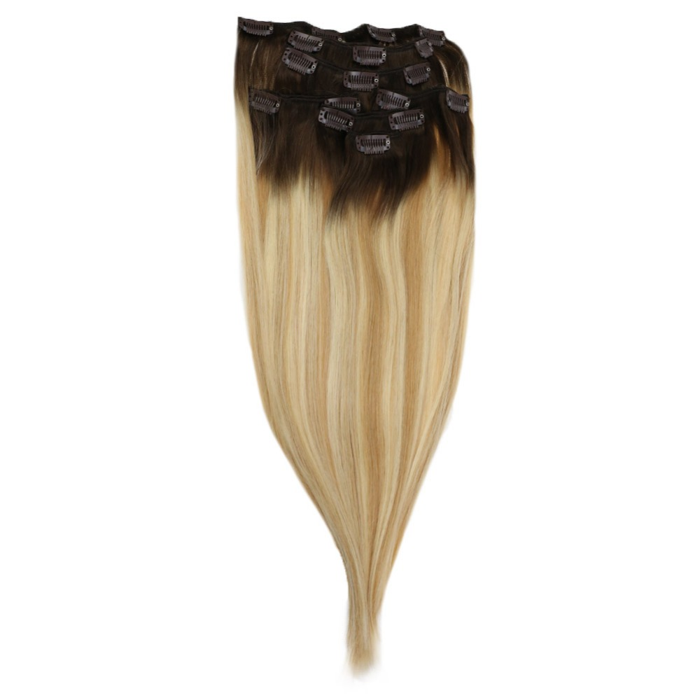 Full Shine Ombre Head Clip in Remy Human Hair Extensions 7Pcs Balayage  In Color #3 Fading to 24and 27