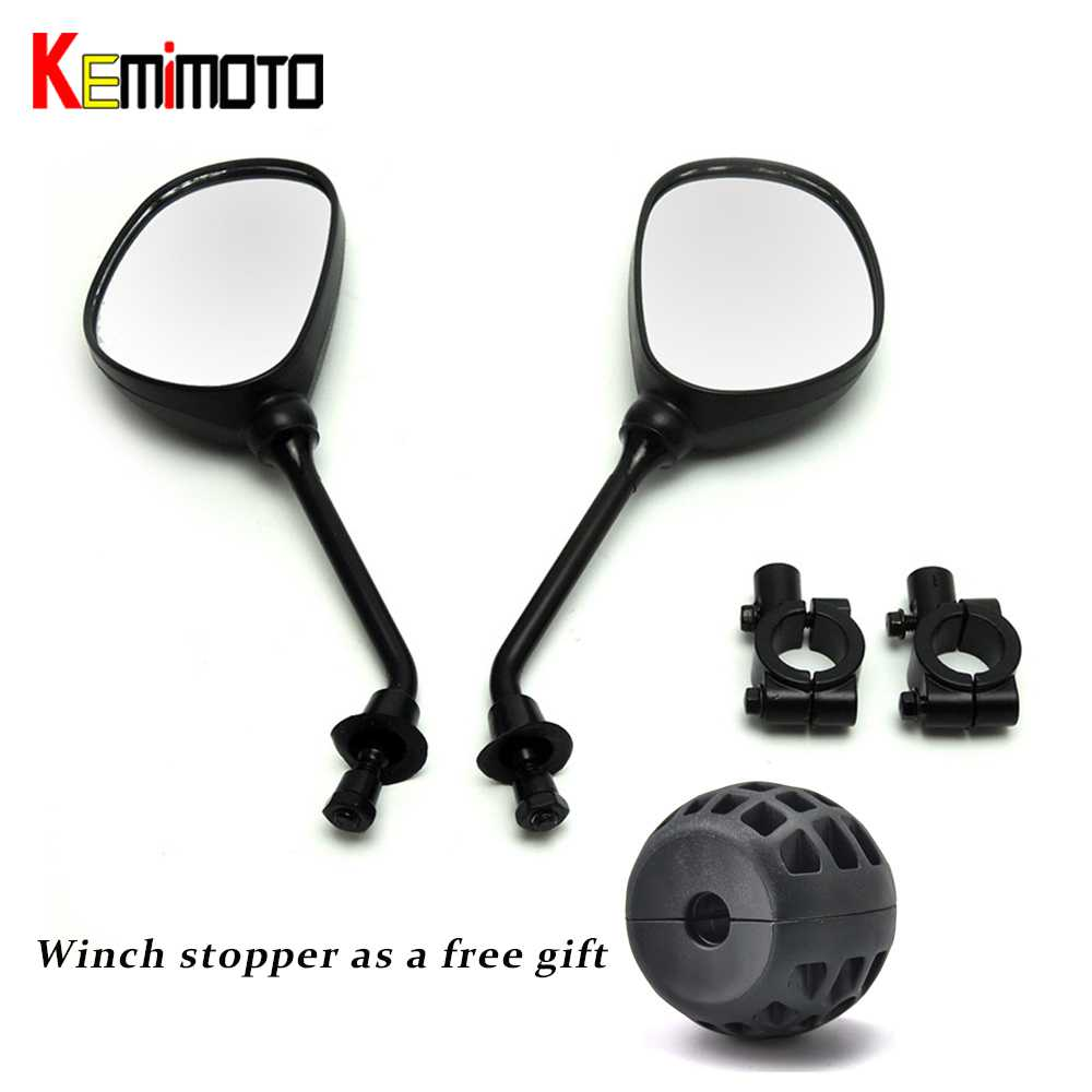 KEMiMOTO 8mm motocross ATV Off-road dirt bike motorbike side mirror moto rearview motorcycle mirror 22mm handlebar winch stopper