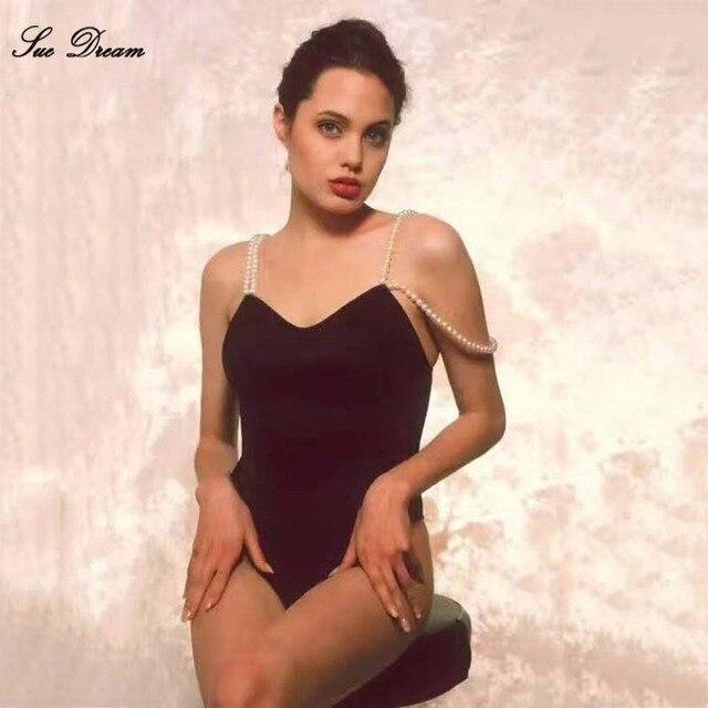 060a37b779b 2017 new summer women sexy strap Black beige pearl sling Bandage bodysuit  Swimsuit Sexy Bodycon Bikini Spaghetti Strap Rompers