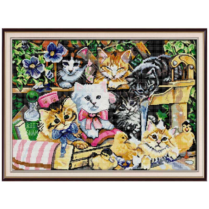 14/16/18/27/28 Cat Family Painting Counted Cross Stitch Set Animals Diy Dmc Cross-stitch Kit Embroidery Needlework 7th To Invigorate Health Effectively Home