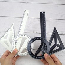 Plastic Three-dimensional Technical Black/White Drawing Ruler Set Students Maths Geometry Triangle Office School Supplies