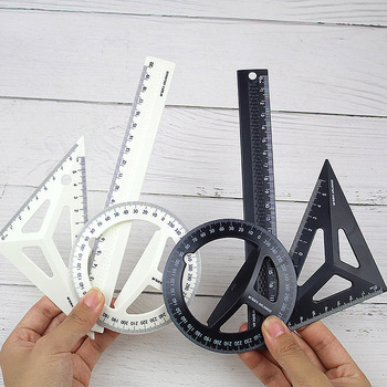 Plastic Three-dimensional Technical Black/White Drawing Ruler Set Students Maths Geometry Triangle Ruler Office School Supplies an introduction to three dimensional geometry and projection operators